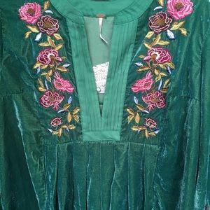 Free People Dresses - Free People Mia Velvet Embroidered Mini Dress